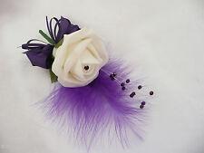 Buttonhole Corsage wedding Flower Ivory Rose & Purple - Pin On
