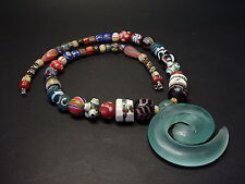 ANTIQUE ARTISAN MOSAIC BEADED NECKLACE w/ WHORL QUARTZ PENDANT. Lot 06