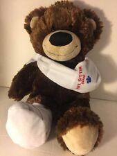 "Build A Bear Brown Plush FEEL BETTER SOON Broken Leg Arm 15"" Tall"