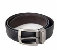 "Mens Reversible Black Brown Leather Belts Waist Sizes 30"" - 48"" 2 belts in 1"