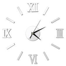 Modern Wall Clock 3D Mirror Sticker Watch Home Office DIY Decor Silver US