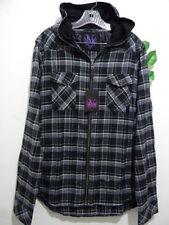 VOODOO GURU Men's Black Gray Plaids Flannel Cotton Hood Shirt Jacket Sz 2XL