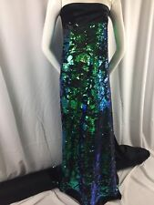 Sequins Fabric Mermaid Reversible Embroidery in velvet 2 way stretch By The Yard