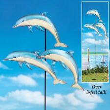 Jumping Dolphins Nautical Metal Stake Garden Yard Statue Lawn Ornament Decor