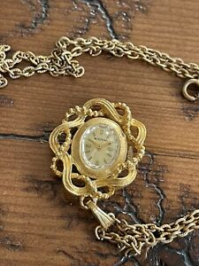 Vintage Signal Pendant Watch Necklace w/ Chain Manual Wind Runs In Working Order