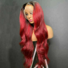Luxury Lace Front Remy Wavy Ombre Red Burgundy Full Lace #99J Human Hair Wig