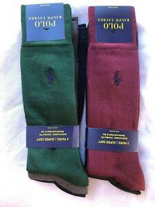 NWT Polo Ralph Lauren Men's Super Soft Dress Socks 3 Pack Size 10-13
