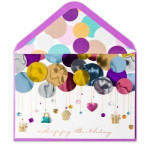 Papyrus Birthday card - Metallic Balloons, Gold Cupcakes, 3D purse, Gems, Hearts