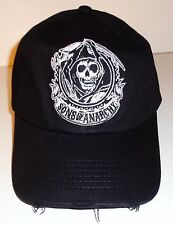 SONS OF ANARCHY FITTED BALL CAP - BLACK EMBROIDERED GRIM REAPER HAT