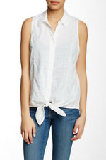 EQUIPMENT Mina Tie Front Eyelet Blouse, Color: WHITE  Size M