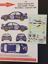 DECALS 1/43 SUBARU IMPREZA WRC SIMON JEAN JOSEPH RALLYE MONT BLANC 1997 RALLY