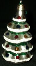 Ornament Xmas Christmas Tree Hand Blown Glass Painted Snow Flocked 4""