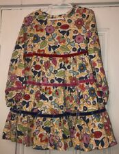 Hanna Andersson Girls Tiered Off White Floral Velvet Ribbon Dress Sz 110 US 5-6