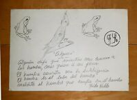 """FRIDA KAHLO GRAPHITE ON PAPER SIGNED SEAL DRAWING WITH PERSONAL NOTE """"ALGUIEN"""""""