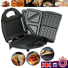 3 in 1 Sandwich Toaster & Waffle Maker 750W Panini Press Toaster Iron Grilled