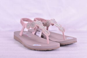 Women's Skechers Meditation - Stars & Sparkle T Strap Sandals, Light Pink