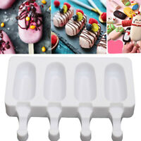 4 Cell Molds Silicone DIY Frozen Ice Cream Popsicle Mold Ice Lolly Pop Maker US