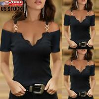 Womens Cold Shoulder Short Sleeve T-shirt Tops Ladies V Neck Slim Fit Blouse Tee