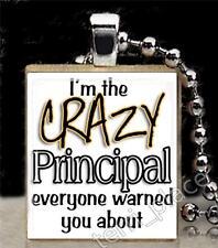 Crazy Principal Scrabble Tile Pendant for Necklace School Teacher Fun Gift Ideas
