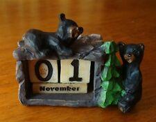 Black Bear Perpetual Desk Calendar Figurine Lodge Cabin Office Home Decor New