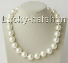 "18"" 16mm round white south sea shell pearls necklace zircon magnet clasp j8936"