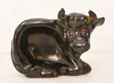 Small Black Bull Standing Dish Pottery Ring Spoon Gum Figurine Figure Cow Taurus