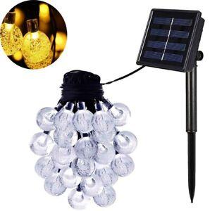 30/60 LED Solar String Powered Lights Outdoor Party Xmas Decor Globe Ball Bulbs