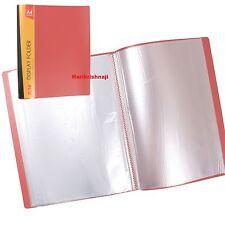 A4 SOFT COVER DISPLAY BOOK 40 POCKETS 80 VIEW ANTI-GLARE PRESENTATION FOLDER Red