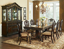 Traditional Dining Room Furniture 9 piece Brown Rectangular Table Chairs Set C50