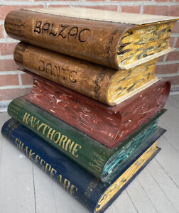 Mid Century Italian Tole Books Stack Table Fornasetti  style made for Gumps