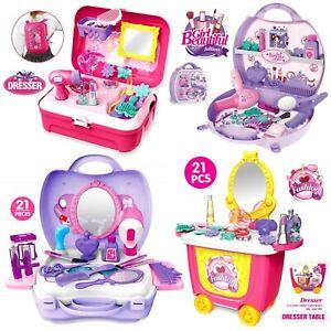 Kids Cosmetic Set Girl Makeup Play Pretend Beauty Toy Gift Kit hairdryer Vanity