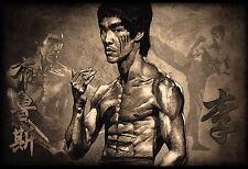 Cartel de Bruce Lee montaje Marrón impresiones de arte de Pared Decoración Hogar Hollywood Película Leyenda