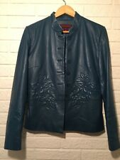 Margaret Godfrey Quilted Floral Genuine Leather Button Front Jacket Teal Size 10