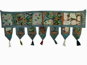 Embroidered Indien Gray patch work cotton Door Hanging Toran Vintage Valances
