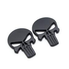 2x Black Metal Rear Trunk The Punisher 3d Badge Side Wing Fender Emblem Sticker Fits Jaguar