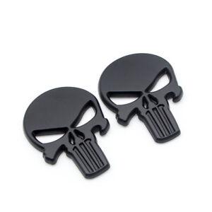2x Black Metal Rear Trunk The Punisher 3D Badge Side Wing Fender Emblem Sticker
