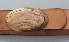 NEW MEN'S TAN LEATHER BELT, SIZE 36, WITH BRASS AND PETRIFIED WOOD BUCKLE
