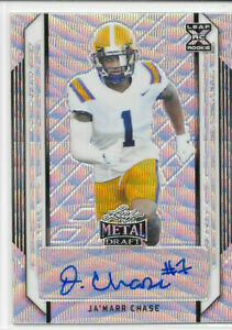 2021 LEAF METAL DRAFT JA'MARR CHASE SILVER WAVE RC ROOKIE REFRACTOR AUTO 24/75