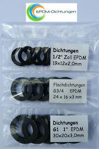 """15 Stück (SET) Flachdichtung Gummidichtung  1/2"""", G3/4, G1 Zoll EPDM"""