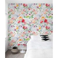 Non-Woven wallpaper Dreamy floral Watercolor Pastel Soft Traditional art Mural