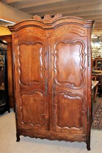Large French Antique Walnut Louis XV Armoire / 3 Shelf Cabinet Circa 1805