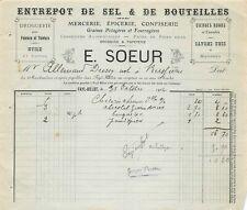 Faacture - Warehouse of Salt & Bottles a. S. E. a. N.Sister to Fayl-Billot 1904