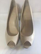 Nine West Peep Toe Patent Leather Beige SZ 7 M Shoe