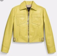 NWT $1595 COACH RUNWAY LEATHER MOTO CROPPED JACKET SLIME LIME YELLOW SIZE10
