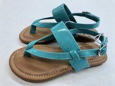 New! Harper Cauyon Little Girls Sandal Faux Patent Aqua Color Size 10M