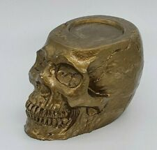 BRONZE Human Realistic Skull Tealight Candle Holder Handmade Halloween Goth