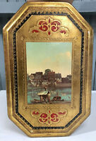 "VTG Italy Empire Art Company Wooden 12"" Plaque River Scene"