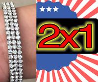 2 Fashion Crystal Rhinestone Stretch Bracelet Bangle Wristband Wedding Bridal*