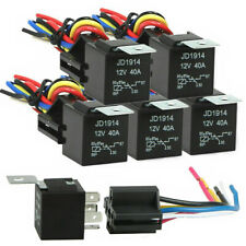 5 Pack 12v 3040a Amp 5 Pin Spdt Automotive Relay With Wires Harness Socket Set