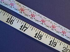 """A2275 TRIM Jacquard Woven Pink White Floral Ribbon 11 Yds 3/4"""""""